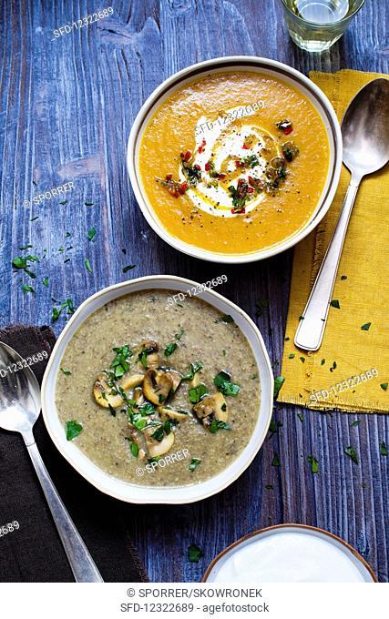 Pumpkin soup and mushroom soup