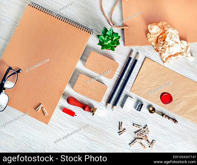 Blank vintage stationery and corporate identity template. For design presentations and portfolios. Top view. Flat lay