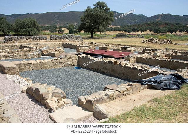 Archaelogical site of the Roman city of Turobriga. Aroche, Huelva province, Andalucia, Spain