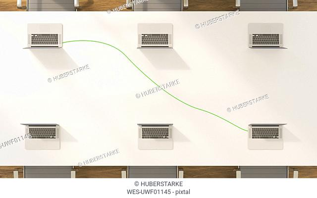 Conference table with two connected laptops, 3d rendering