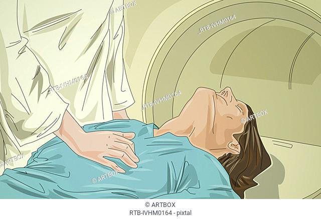 Mid section view of a doctor examining a patient