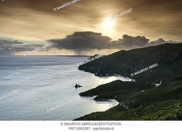 Arrábida Nature Park and the Atlantic Ocean at sunset. Setúbal, Portugal
