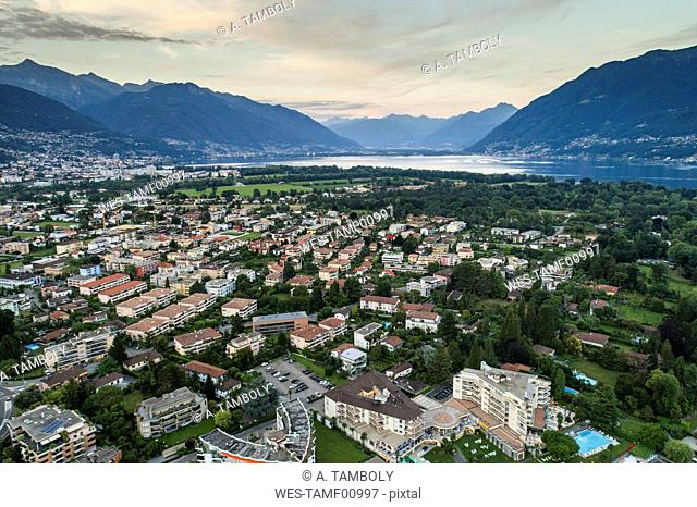 Switzerland, Ticino, Aerial view of Locarno, Lake Maggiore