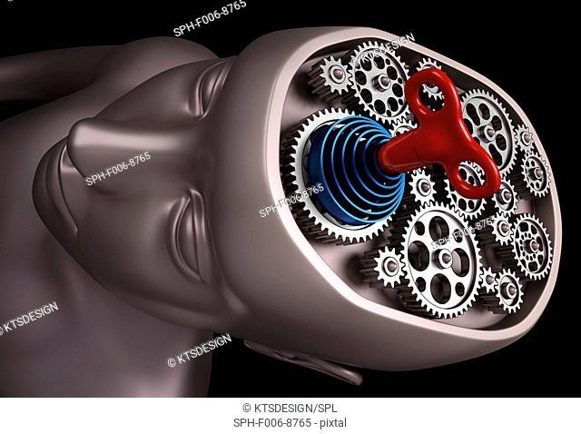 Clockwork brain, computer artwork