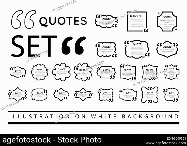 Quote blank template. Vector set illustration on white background