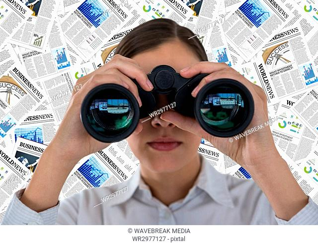 Close up of business woman with binoculars against document backdrop