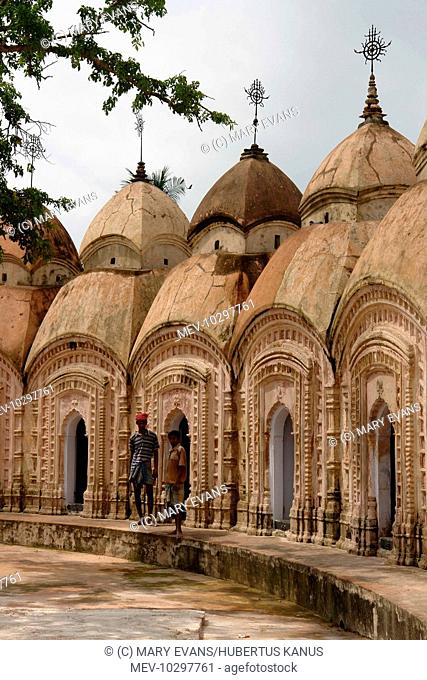 Part of a circle of Shiva (Siva) Temples in Kalna, known as the Temple City, in West Bengal, India. The Nava Kailash or 108 Shiv Mandirs was built in 1809