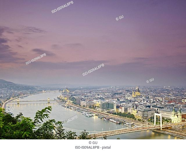 Skyline of Budapest from Gellert Hill at dusk, Hungary