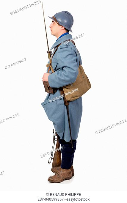French soldier 1914 1918, November 11th, side view, isolated on the white background