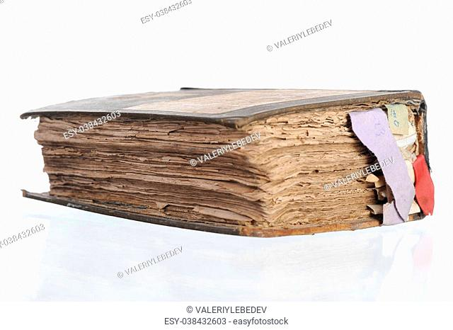 old book with tabs. Isolated on white background