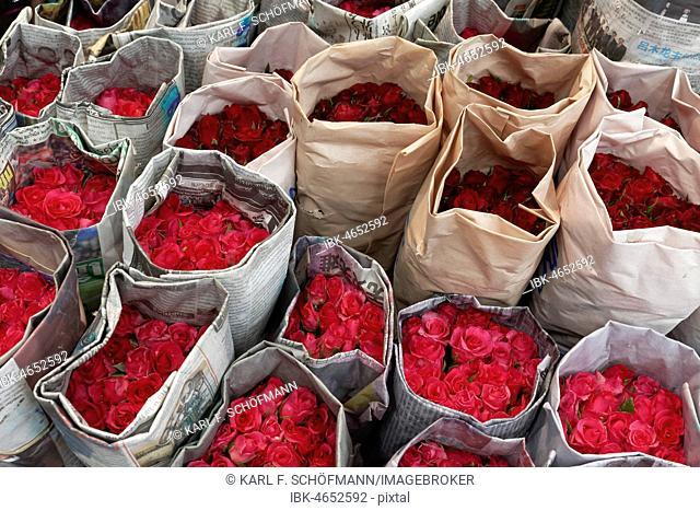 Roses, wrapped in newsprint, for sale, Pak Khlong Talat, flower market, Phra Nakhon, Bangkok, Thailand
