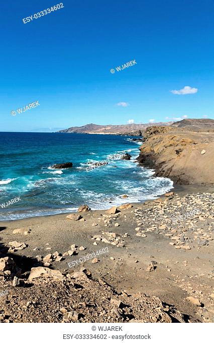 Rock coast near La Pared village on the south western part of Fuerteventura . Canary Islands, Spain