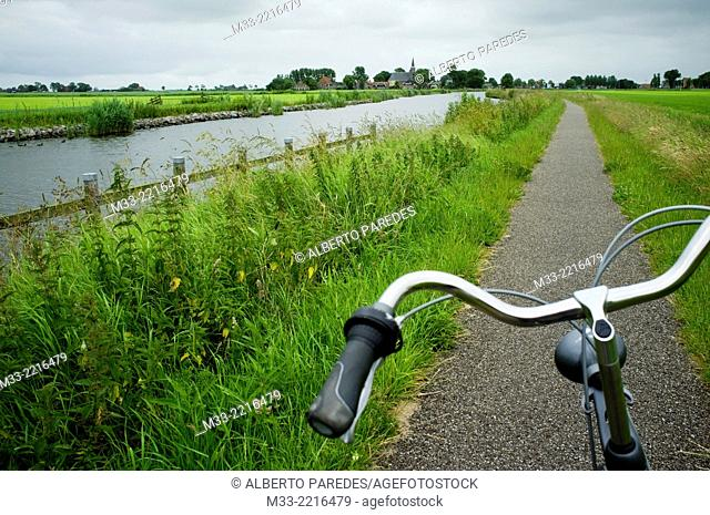 Bike route near Bolsward, Friesland province (Fryslan), Netherlands