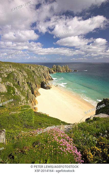 View toward Pendnvounder Beach Treen Cornwall