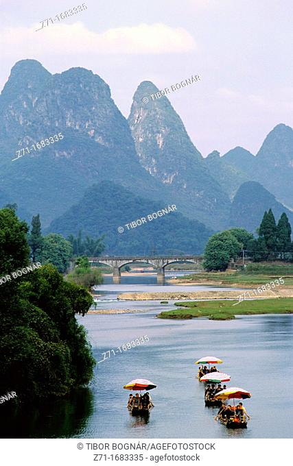 China Guangxi province boating on Li river