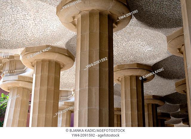Doric columns, Park Guell, Barcelona, Catalonia, Spain