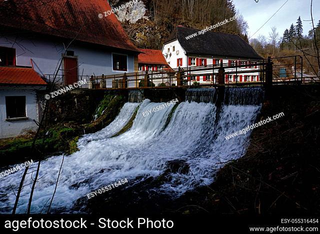 Wasserfall, Schwaebische Alb, ber der Wimsener Hoehle und Zwiefalten, waterfall near the wimsener cave, swabian alps, Germany