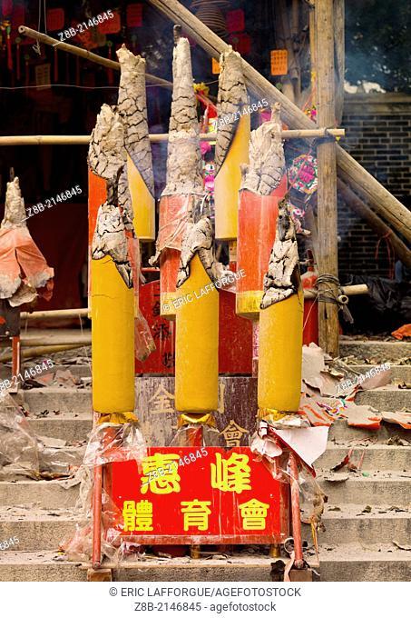 Incense Sticks Burning In Kwan Kung Pavilion On Chueng Chau, Hong Kong, China