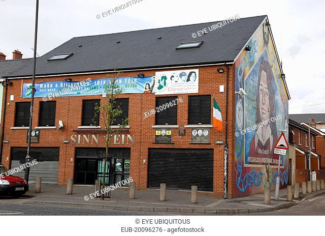 Falls Road, Mural of Bobby Sands on the gable end of the Sinn Fein headquarters on the corner of Sevastapol Street