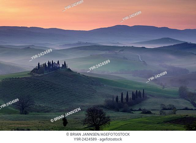 Belvedere and countryside at dawn, San Quirico d'Orcia, Tuscany, Italy