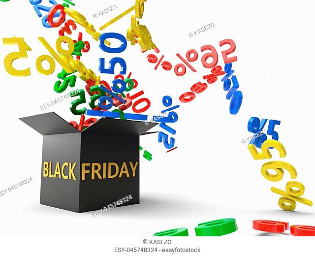 black friday sales concept with black box and discount rates extarcting from box. 3d illustration