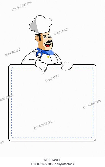 illustration of chef holding cooking card on white background