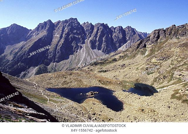 The rugged High Tatras's peaks in Mengusovska dolina seen from the track leading to the summit of Rysy
