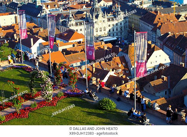 Austria, Styria, Graz, Old Town and Town Hall viewed from Schlossberg