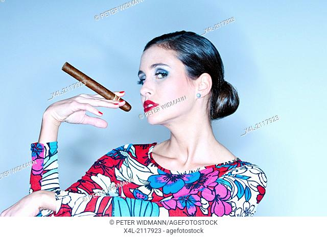 young woman with cigar (model-released)