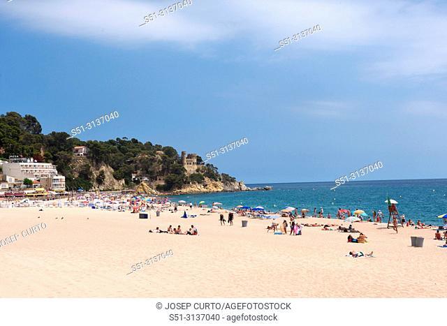 beach of LLoret de Mar, Costa Brava, Girona province, Catalonia,Spain