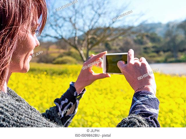 Mature woman outdoors, in rural setting, taking picture using smartphone