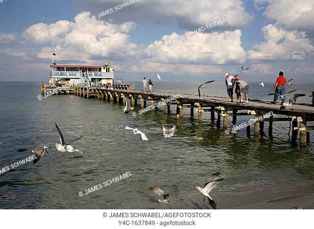 Rod and reel Fishing pier on the Gulf of Mexico on Anna Maria Island Florida
