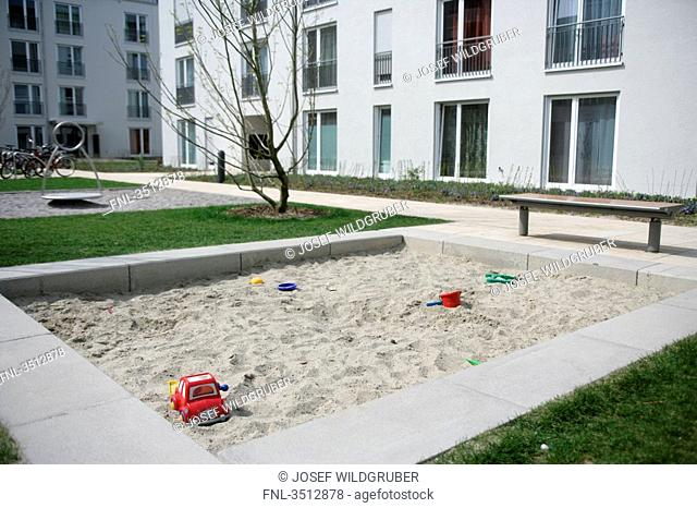 Residential building with playground in Munich, Germany