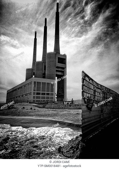 Chimneys of the Thermal Power Station. Sant Adrià de Besòs . Barcelona, Catalonia. Spain