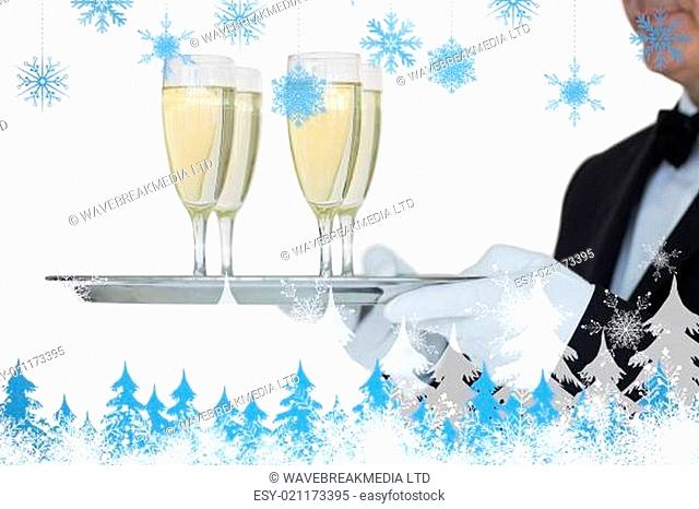 Composite image of waiter carrying tray full glasses of champagne