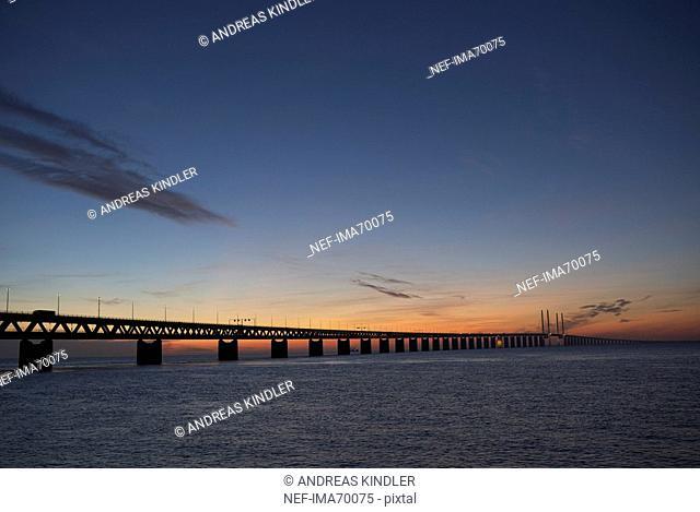 Oresund bridge by night Skane Sweden