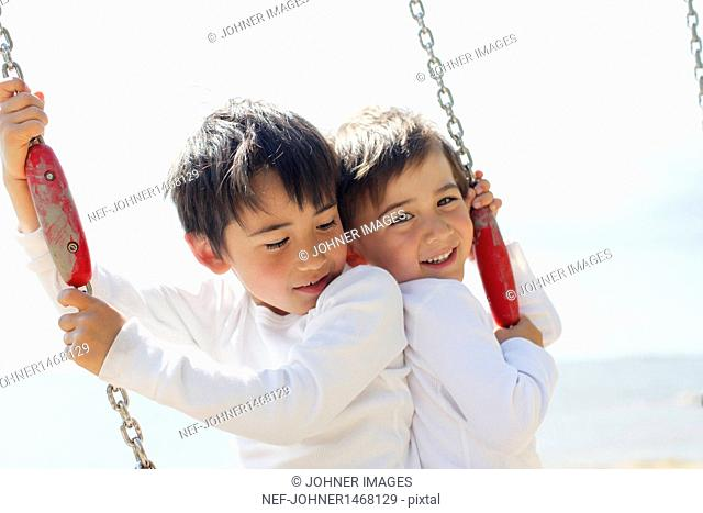 Portrait of two brothers on swing