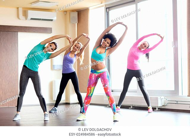 fitness, sport, training, gym and lifestyle concept - group of happy women working out and stretching in gym