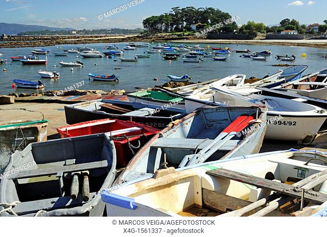 Traditional fishing boats in Canido port  Vigo, Galicia, Spain