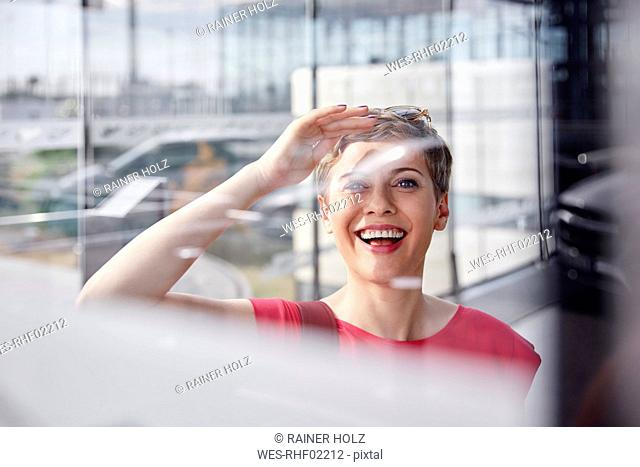 Portrait of happy woman at the airport