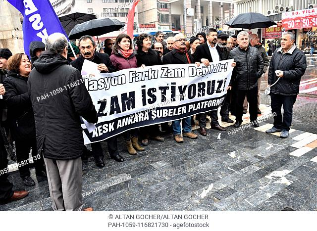 15 January 2019, Turkey, Ankara: Members and supporters of the Confederation of Public Employees Trade Unions (KESK) take part in a protest demanding an...