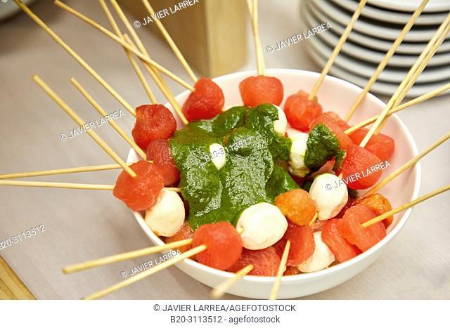 Snacks of tomato and mozzarella, Catering in congress, Kursaal Congress Palace, Donostia, San Sebastian, Gipuzkoa, Basque Country, Spain, Europe