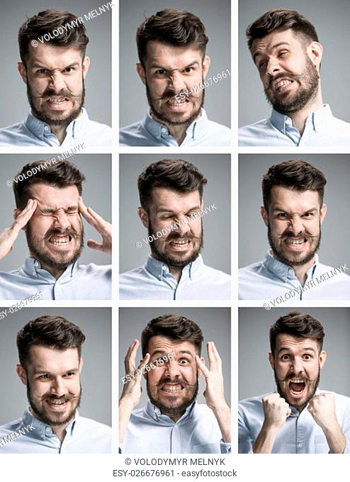 Set of young man's portraits with different negative emotions on gray background