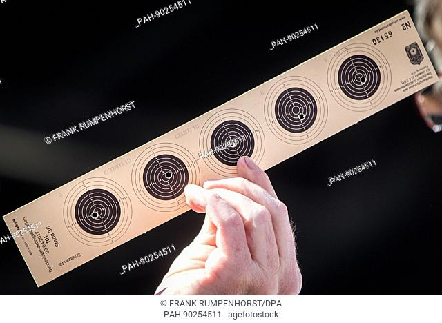 One of the targets of the award winner is presented at the 60th German Shooting Sport and Archery Day in Frankfurt, Germany, 29 April 2017