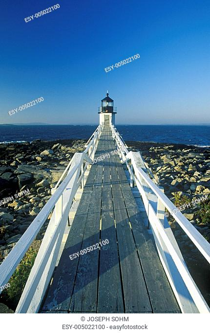 Causeway to Marshall Point Lighthouse on Port Clyde, ME