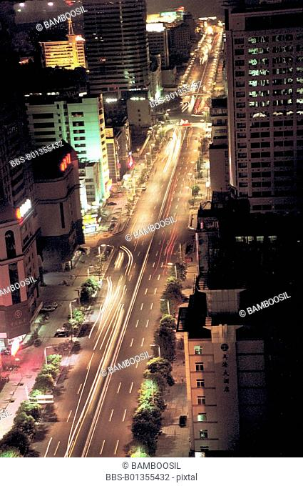 Wuyi road at night, Fuzhou City, Fujian Province, People's Republic of China