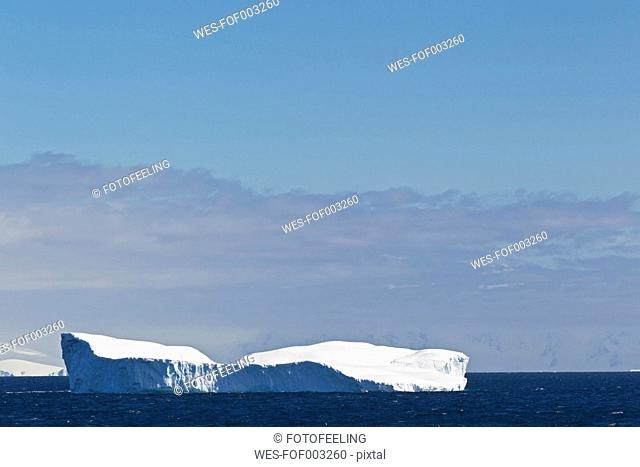 South Atlantic Ocean, Antarctica, Antarctic Peninsula, Gerlache Strait, View of iceberg floating on water