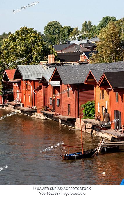 Riverside storage buildings in Old Porvoo, Porvoo, Uusimaa, Finland