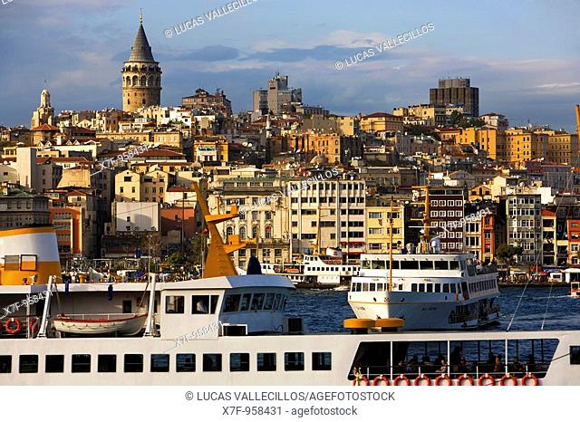 View of the Galata Tower, Beyoglu district and ship on the Golden Horn, Istanbul  Turkey