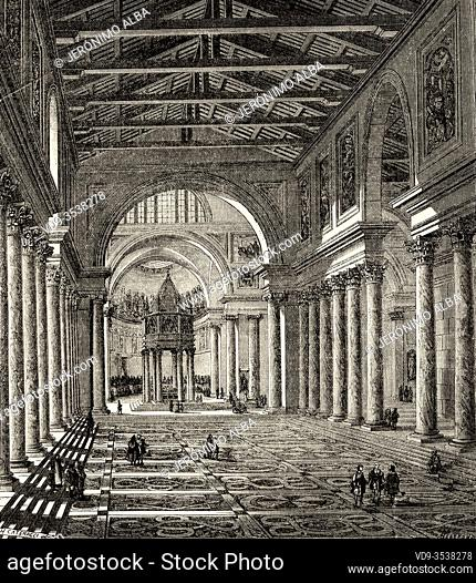 Ancient Constantinian basilica of St Peter, Rome. Italy, Europe. Trip to Rome by Francis Wey 19Th Century